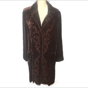 Wrap London brown silk velvet duster NWOT